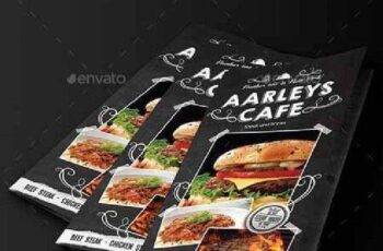Blackboard Food Menu (Trifold) + Business Card 9897895 3