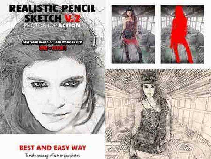 Realistic pencil sketch v 2 photoshop action 17830959 free psd download free photoshop action lightroom preset plugin vector stock font with