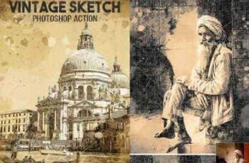 Vintage Sketch Photoshop Action 18128171