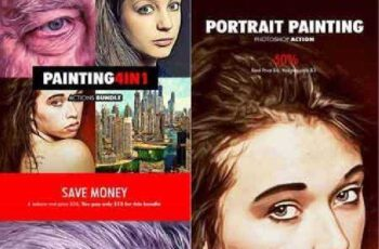 Painting - 4in1 Photoshop Actions Bundle V.1 18177924 3