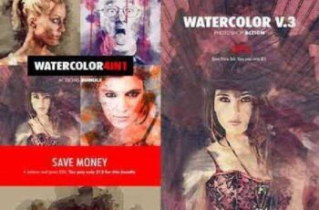 Watercolor - 4in1 Photoshop Actions Bundle V.1 18180095 10