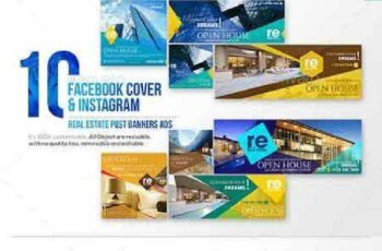 10 Facebook Cover & 10 Instagram Real Estate Post Banners Ads 18124712 7