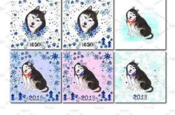 1801156 Watercolor illustration of a husky 2102096 4