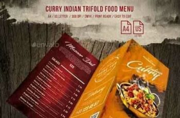 1812165 Curry Indian Trifold Food Menu US Letter & A4 20689813 2