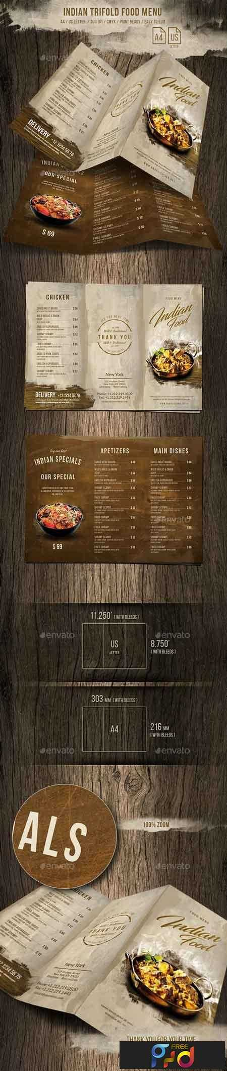 1812167 Indian A4 and US Letter Trifold Food Menu 20698642 1