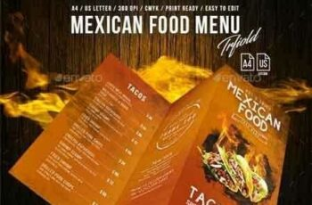 1812169 Mexican A4 and US Letter Trifold Food Menu 20788032 5