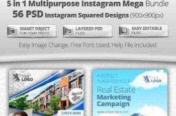 56 Instagram Design Templates - 5 in 1 Bundle 12487586 2