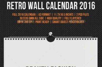 Wall Calendar 2016 Retro Photo V02 11827782 2