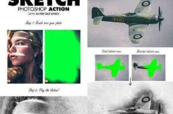 Sketch Photoshop Action (With 3D Pop Out Effect) 17361333