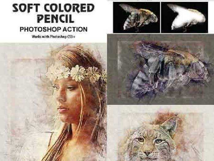 Soft colored pencil photoshop action 17485012 free download photoshop action lightroom preset psd template mockup vector stock font