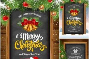 Christmas and Happy New Year, decorative elements, frame with Christmas decorations 6