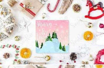 Cute vintage christmas new year gifts mock up 1079412 9