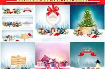 Christmas and New Year vector, holiday background, christmas tree and presents 7