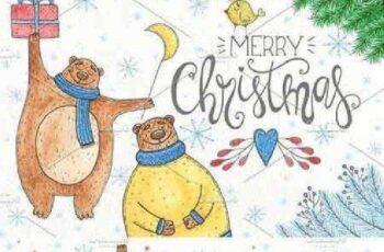 Watercolor Christmas bear 1076015 8