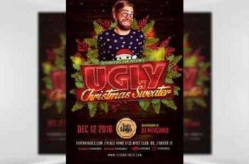 Ugly Sweater Christmas Flyer Template v2 2
