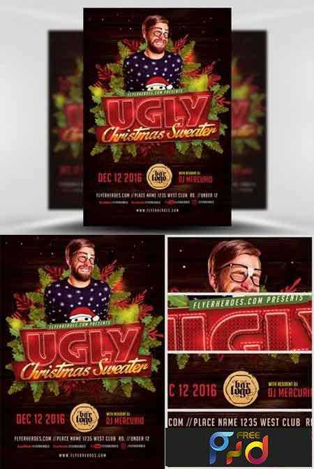 Ugly Sweater Christmas Flyer Template v2 | Free download Photoshop ...