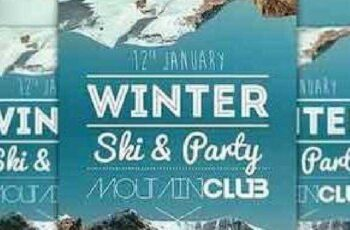 Winter Ski Party Flyer Template 164349 4