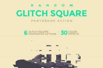 Random Glitch Square Photoshop Action 19172258 2