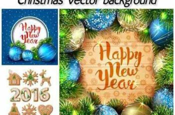 Christmas vector background with Christmas decorations and balloons 2