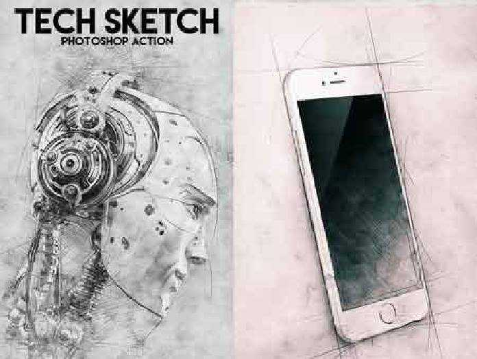 Tech Sketch Photoshop Action 16777317 - FreePSDvn