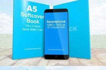 Mobile With A5 Book Combo Mockup 604628