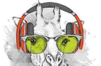 1701008 Animals in headphones 10 EPS