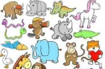 1701030 Cartoon animal set 11 EPS 2