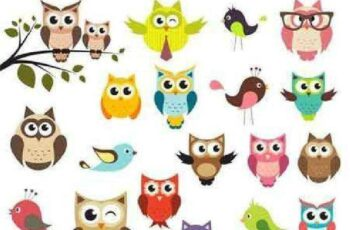 1701053 Cute owls set 14 EPS 4
