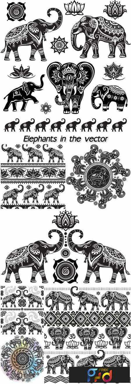 FreePsdVn.com_VECTOR_1701064_elephants_in_the_vector_patterns_and_ornaments