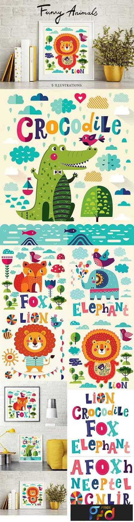 FreePsdVn.com_VECTOR_1701077_funny_animals_5_illustrations