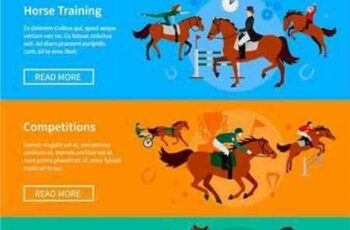 1701097 Horse Riding Sport Banners 15 EPS 3