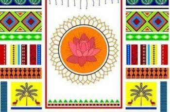 1701101 Indian Art background 16 EPS 6