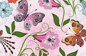 1701144 Seamless floral pattern with butterflies 25 EPS 4
