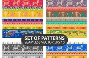 1701154 Set of seamless knitted patterns 10 EPS 8