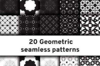1701196 Set of 20 monochrome seamless patterns 10 EPS 6