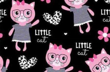 1701217 Seamless cute fashion cat pattern 25 EPS 6