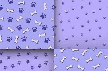 1701230 Seamless pattern with paws and bones 16 EPS 8