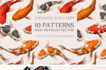 1701237 Koi Carps Seamless Patterns 882852 4