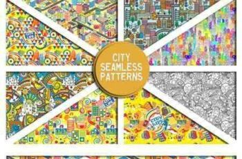 1701383 City seamless backgrounds set 707909 3
