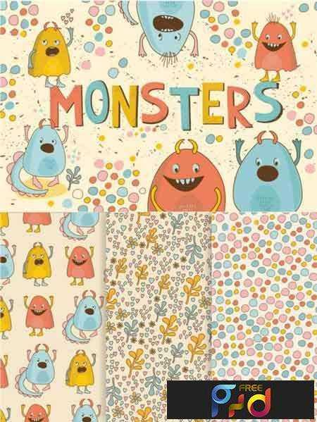 FreePsdVn.com_VECTOR_1701387_cute_little_monsters_640055
