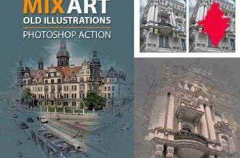1702038 MixArt Old Illustrations Photoshop Action 16360446 4