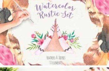 1702409 Watercolor Rustic Set 1175237