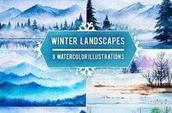 1702426 Winter Landscapes set #2. Watercolor 1153117 7