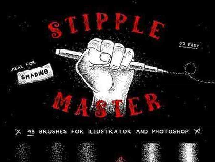 1702431 Stipple Master AI & PS Brushes 1173694 - FreePSDvn