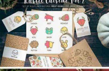 1702488 Rustic Cuisine. Meat Icons & Design 1187514 3