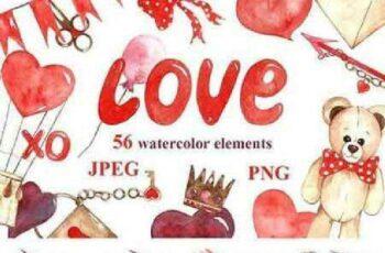 1702516 56 watercolor elements love 1201417 6