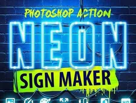 1703260 Neon Sign Maker Photoshop Action 19387470 - FreePSDvn