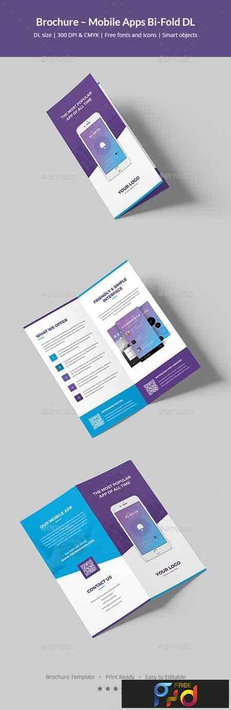 Brochure Mobile Apps BiFold DL FreePSDvn - Dl size flyer template