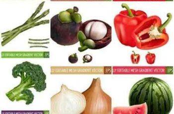 1704132 Realistic Vegetables Fruits Set - 26 Vector 5