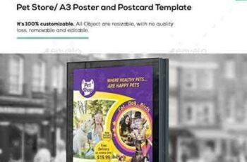 1704146 Pet Store A3 Poster and Postcard Template 16893931 2